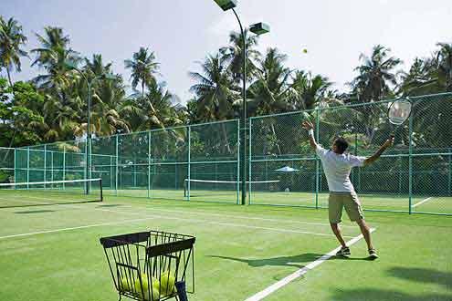 Tennisspieler auf den Malediven